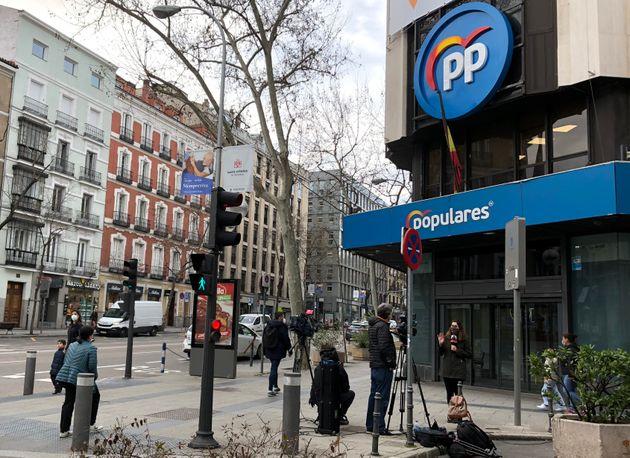 Sede del PP, en la calle de Génova, en Madrid, este