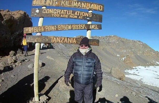 The author, Sean McBride, at Stella Point, Mount Kilimanjaro