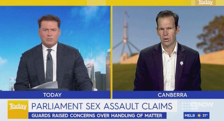 Karl Stefanovic (L) and Senator Matt Canavan on the 'Today' show on Wednesday