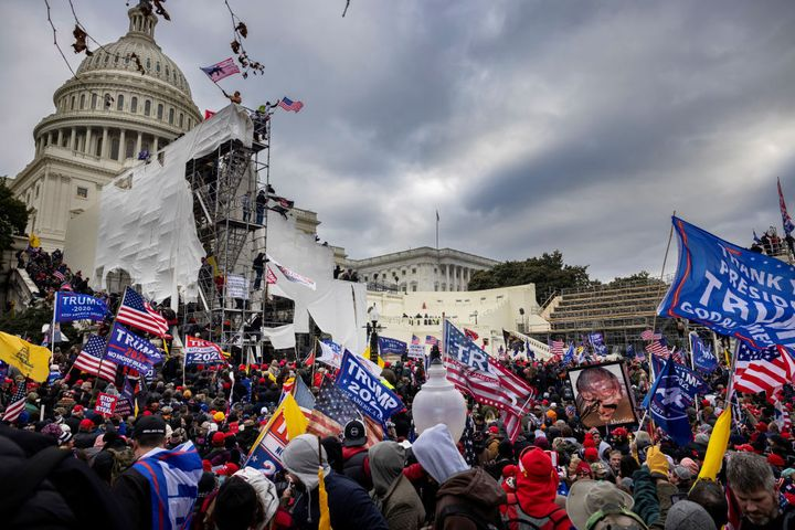 Trump supporters clash with police and security forces as people try to storm the US Capitol on Jan. 6, 2021, in Washington,