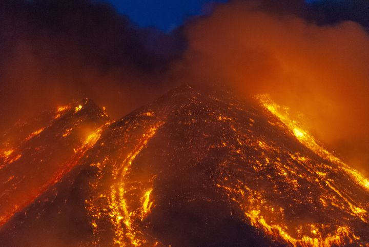 A photograph of Mount Etna, captured on February 16 2021