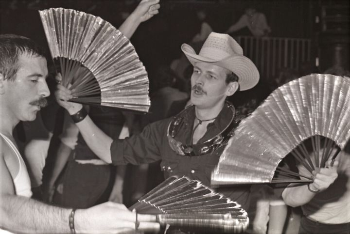 Fan dancers at the opening Night of Heaven Nightclub, 1979