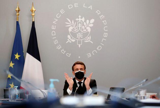 Emmanuel Macron à l'Elysée à Paris, le 12 février 2021. (PhotoIan LANGSDON...