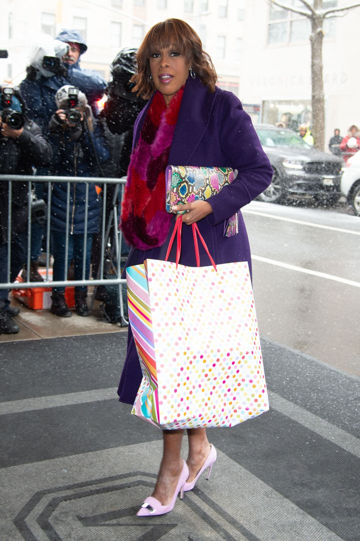 Gayle King arrives for Meghan's baby shower in New York City on Feb. 20, 2019.