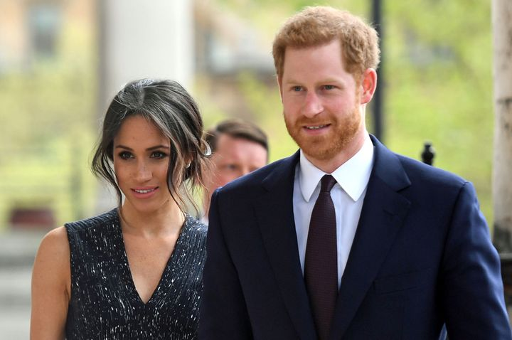 Prince Harry and his then-fiancée, Meghan Markle, arrive for a memorial service at St Martin-in-the-Fields church in L