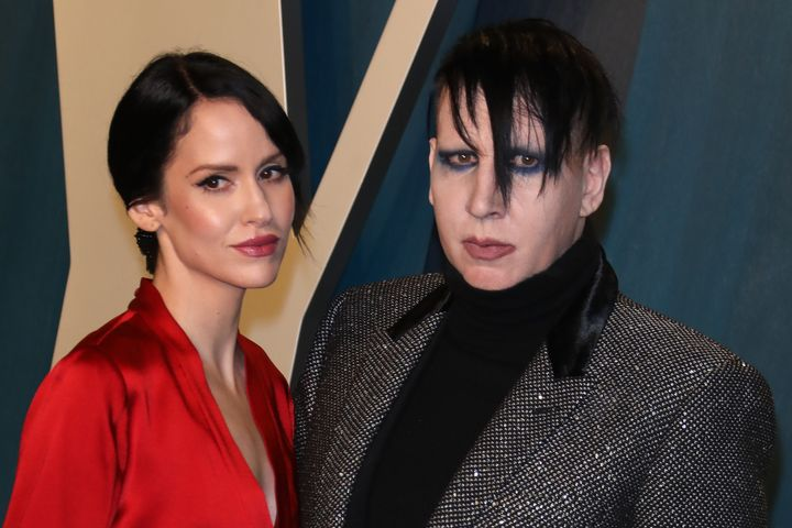 Lindsay Usich and Marilyn Manson attend the Vanity Fair Oscar Party on Feb. 9, 2020, in Beverly Hills, California.