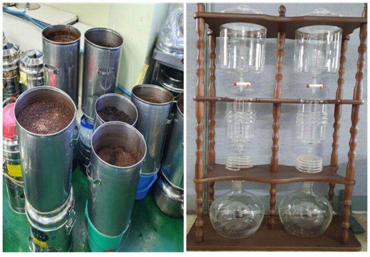 먼지등 방지 덮개 등이 설치되지 않은 더치커피 추출 모습(왼쪽 사진)과 세척과 소독 불량으로 나타난 더치커피 추출기. 식약처 제공