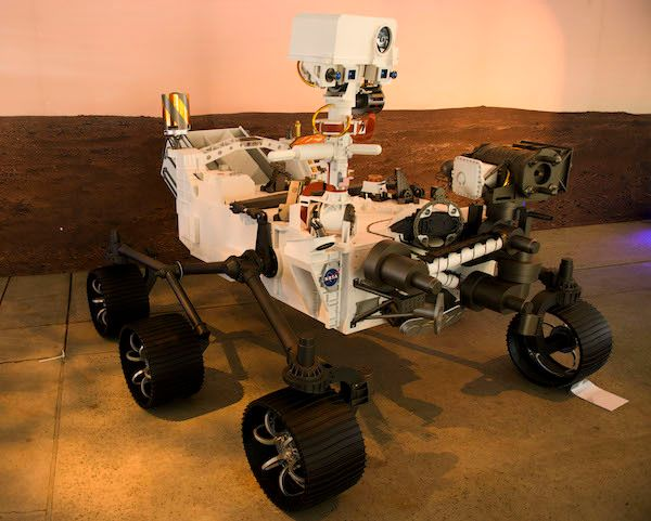 A full scale model of the Mars 2020 Perseverance rover is displayed at NASA's Jet Propulsion Laboratory on February 16, 2021