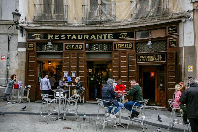 Una imagen del restaurante Casa Labra, en Madrid, el 19 de enero de