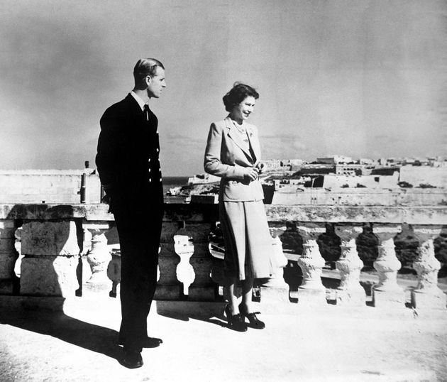 Princess Elizabeth and the Duke of Edinburgh, at Villa Guardamangia in Malta in