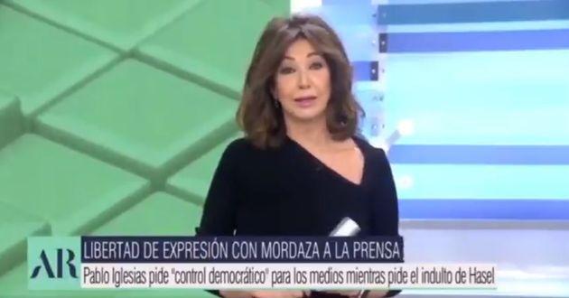 Ana Rosa Quintana, durante su discurso a Pablo