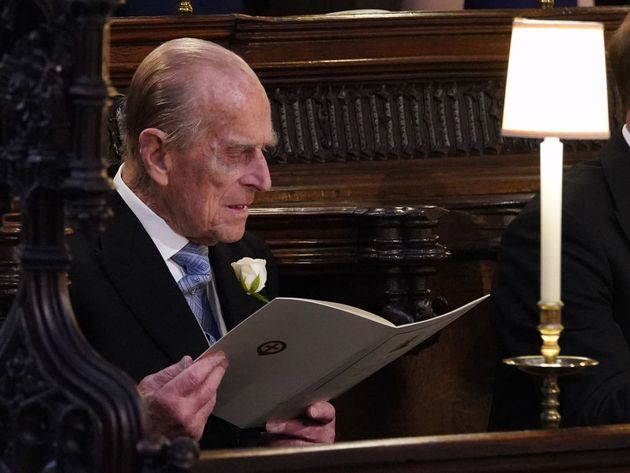 Prince Philip at George's Chapel at Windsor Castle for the royal wedding of Prince Harry and Meghan Markle,