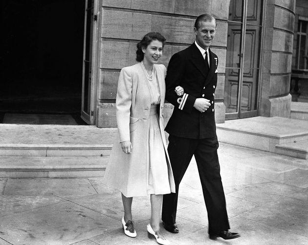 Princess Elizabeth and Lieutenant Philip Mountbatten after the announcement of their