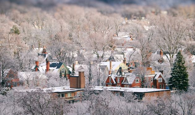 An aerial view of houses in Toronto, using a tilt-shift