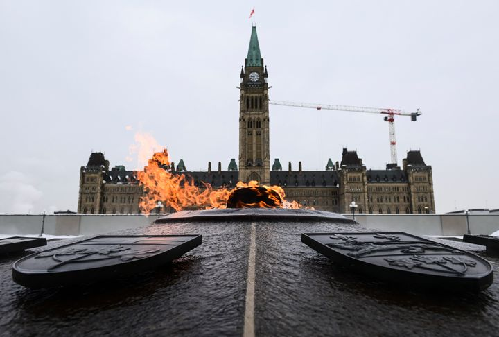 The Peace Tower is pictured on Parliament Hill in Ottawa on Jan. 25, 2021.