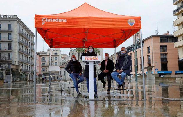 Inés Arrimadas, Carlos Carrizosa, el eurodiputado Jordi Cañas y Juan Castel en un acto de campaña en
