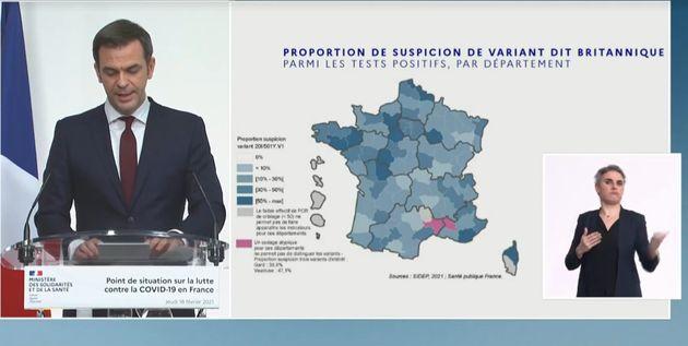 Olivier Véran a présenté la carte de France de la propagation des variants du