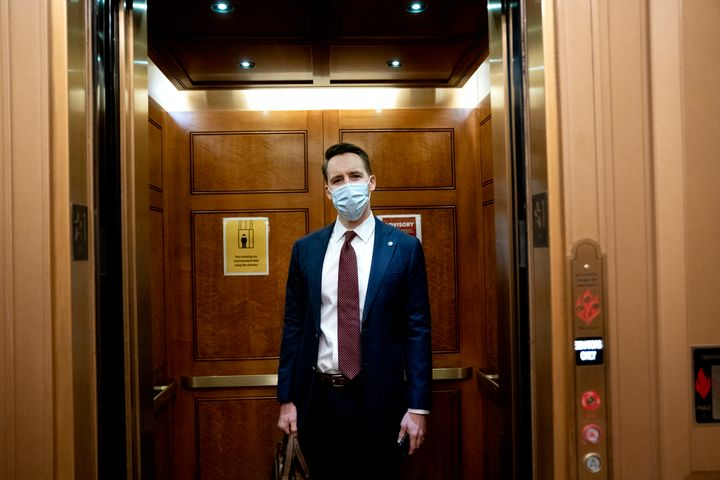 Sen. Josh Hawley (R-Mo.) arrives on the fifth day of Trump's second impeachment trial.