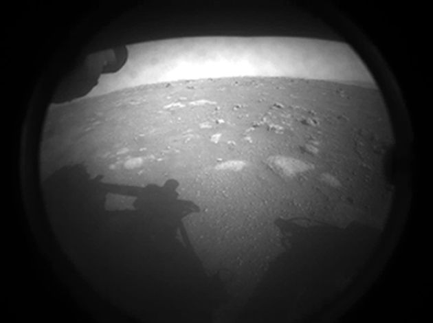 Photo of the first image NASA's Perseverance rover sent back after touching down on Mars on