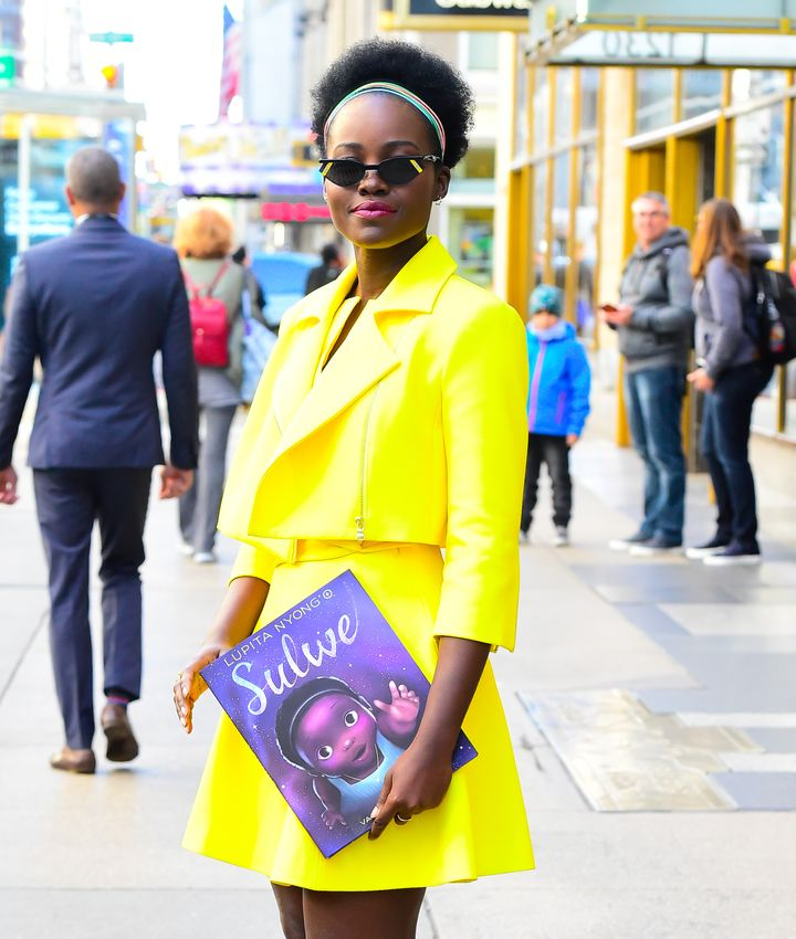 "Lupita Nyong'o is seen with her book ""Sulwe"" on Oct. 15, 2019, in New York City."