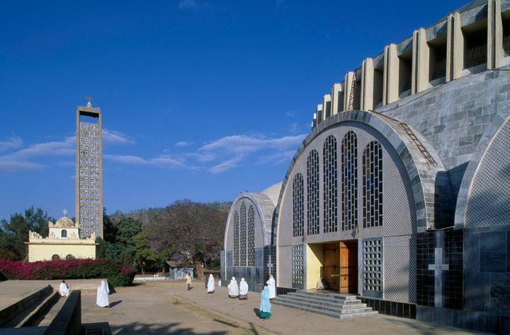 The new Church of Our Lady Mary of Zion (20th century) with the bell tower in the shape of an Axumite stele, Axum, Ethiopia.&