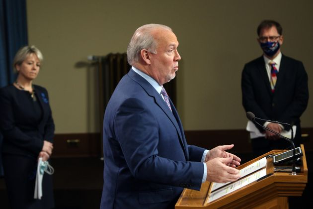 B.C. Premier John Horgan talks during a press conference in Victoria, B.C., on Jan. 22,