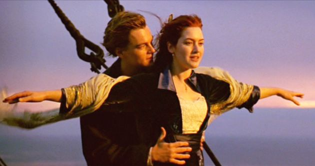 Leonardo DiCaprio and Kate Winslet as Jack and Rose in