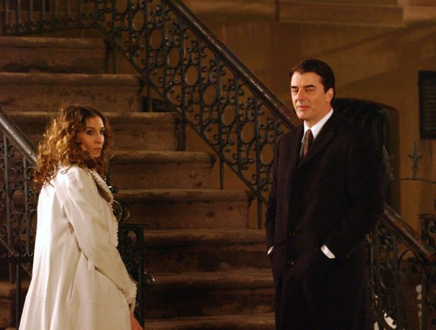 Chris Noth on the set of Sex And The City with Sarah Jessica