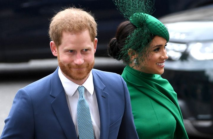 Prince Harry and Meghan Markle arrive for the annual Commonwealth Service at Westminster Abbey in London on March 9, 2020.