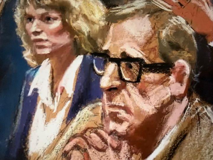 Dibujo de los protagonistas durante el juicio por la custodia de los hijos de Allen y Farrow.