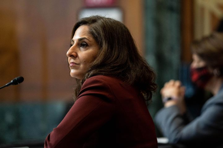 Neera Tanden, nominee for director of the Office of Management and Budget, testifies during a Senate committee hearing on Feb