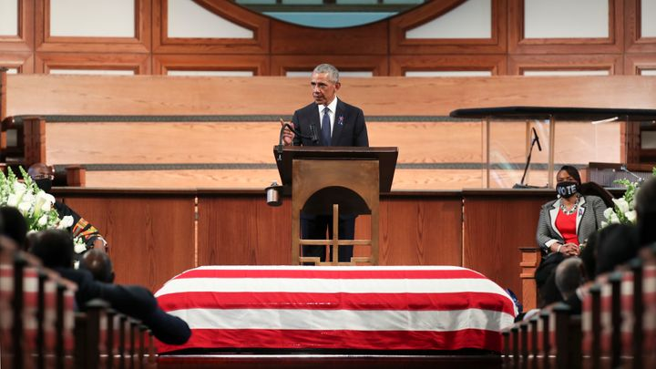 """Former President Barack Obama called the filibuster a """"Jim Crow relic"""" in his eulogy at the funeral service for the late Rep. John Lewis at Ebenezer Baptist Church on July 30, 2020, in Atlanta."""