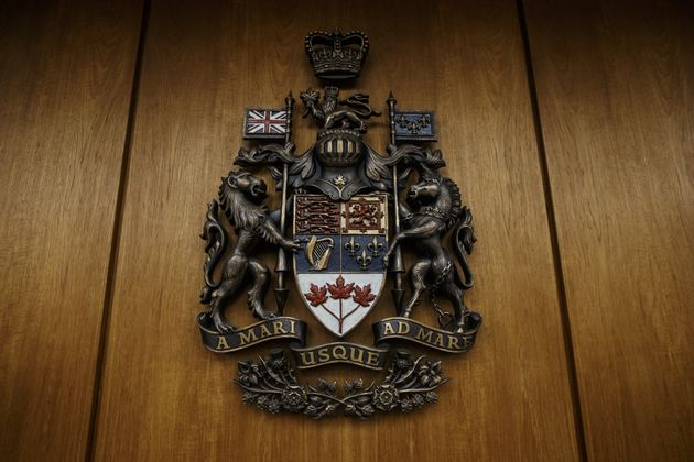 The Alberta Coat of Arms is shown at the Edmonton Law Courts building, in Edmonton on June 28,