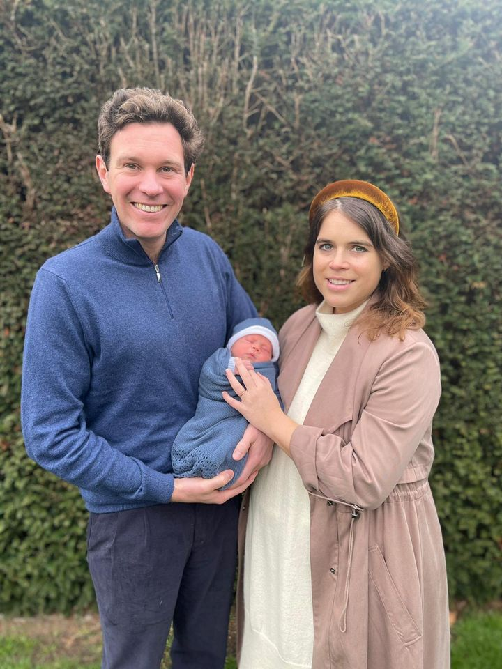 Undated handout photo issued by Buckingham Palace of Princess Eugenie and Jack Brooksbank with their son August Philip Hawke Brooksbank.