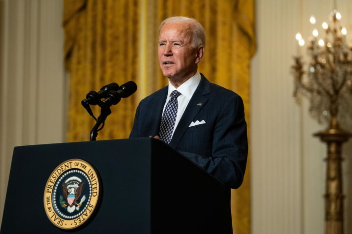 U.S. President Joe Biden delivers remarks at a virtual event hosted by the Munich Security Conference in the East Room of the