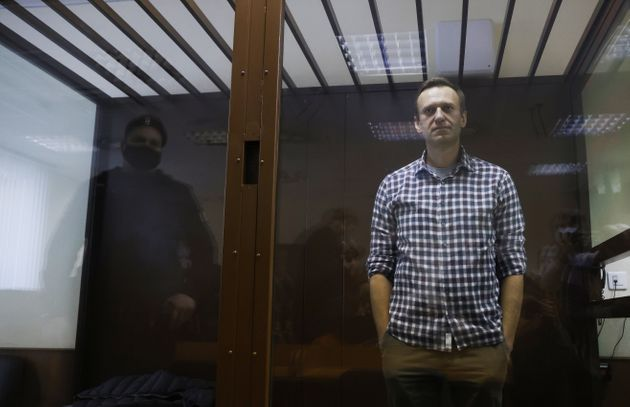 Russian opposition leader Alexei Navalny attends a hearing to consider an appeal against an earlier court...
