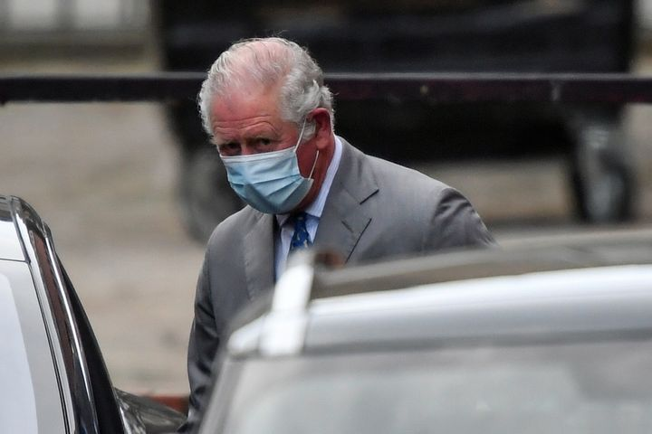 Prince Charles leaves King Edward VII's Hospital, where his father Prince Philip was admitted, in London on Feb. 20, 2021.