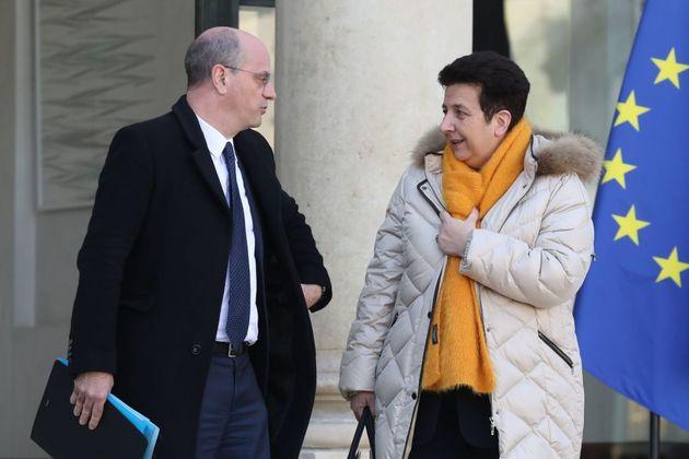 Frédérique Vidal et Jean-Michel Blanquer à la sortie de l'Elysée en février...
