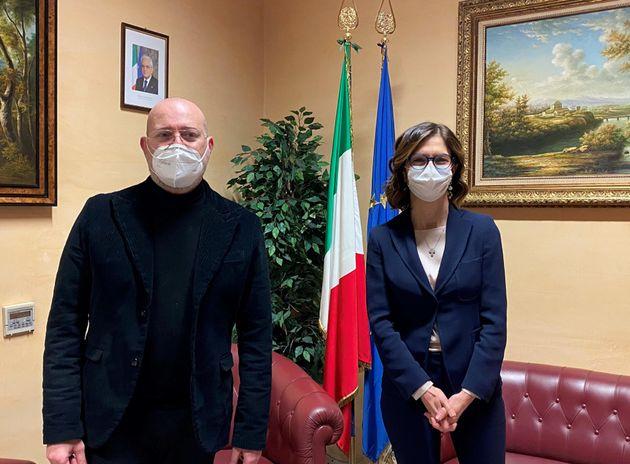 Stefano Bonaccini, governatore dell'Emilia-Romagna, e Maria Stella Gelmini, ministra degli Affari
