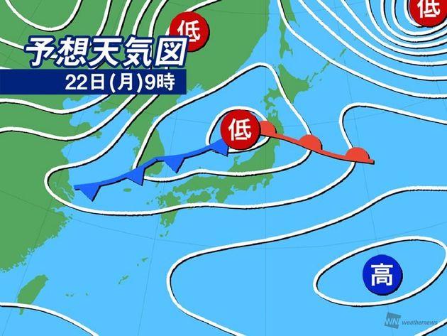 予想天気図 22日(月)9時