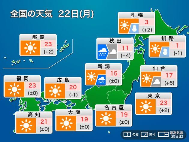全国の天気 22日(月)