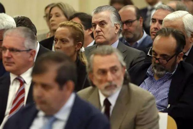 Luis Bárcenas, Francisco Correa y Pablo Crespo, en una imagen de archivo del juicio por