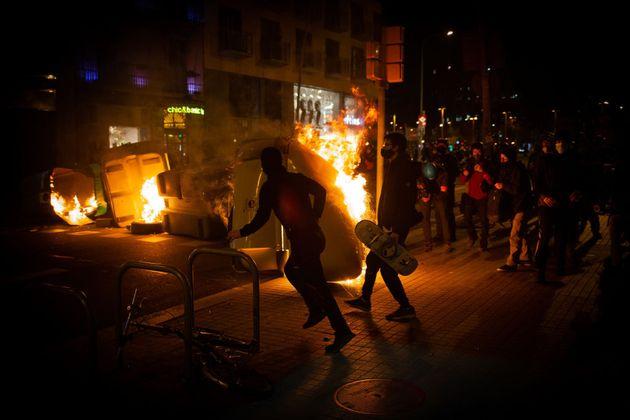 Protestas en Madrid por la detención del rapero Pablo Hasél, el pasado 17 de