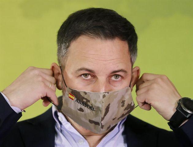 Santiago Abascal, líder de Vox, en rueda de prensa el día posterior a las elecciones