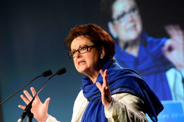 Christine Boutin durant un meeting de campagne le 17 mai 2014 en vue des élections européennes...
