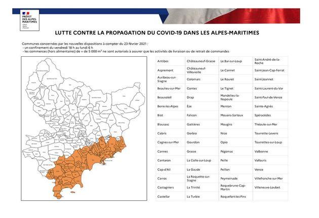 Carte des villes concernées par le confinement le week-end dans les