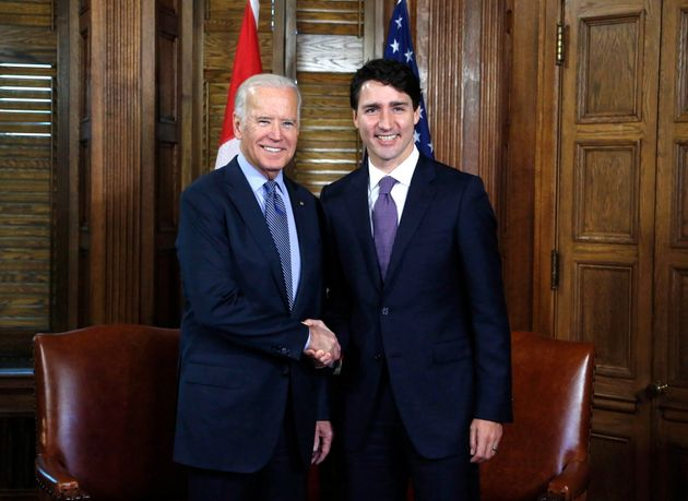 Prime Minister Justin Trudeau welcomes then-vice-president Joe Biden to Parliament Hill in Ottawa on...