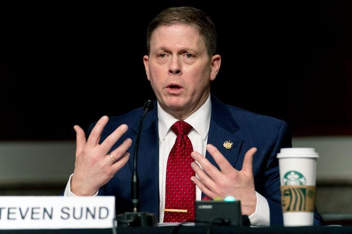 Former U.S. Capitol Police Chief Steven Sund testifies before a Senate Homeland Security and Governmental Affairs & Senate Ru