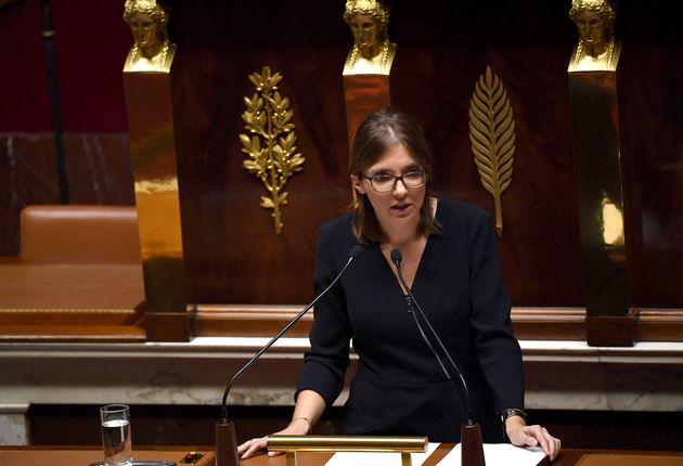 Aurore Bergé photographiée à l'Assemblée nationale