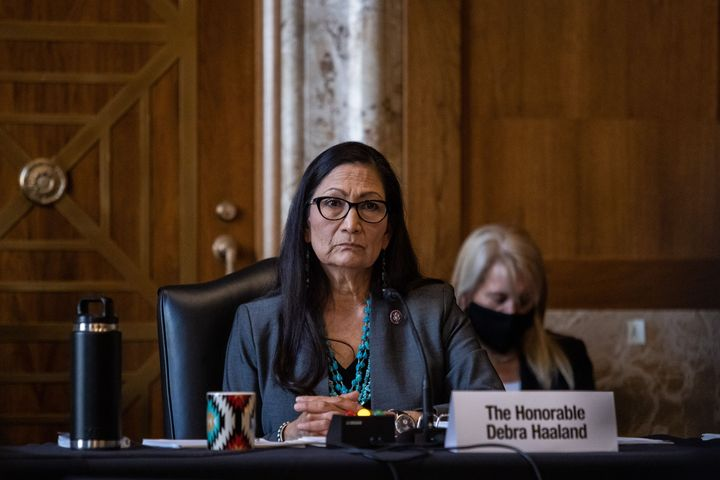 Rep. Deb Haaland (D-N.M.) speaks during the Senate Committee on Energy and Natural Resources hearing on her nomination to be